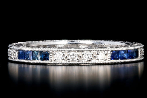 New 14K Diamond and Sapphire Eternity Band - Queen May