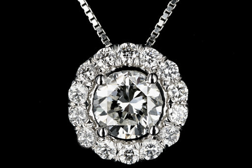 18K White Gold Diamond Halo Pendant - Queen May