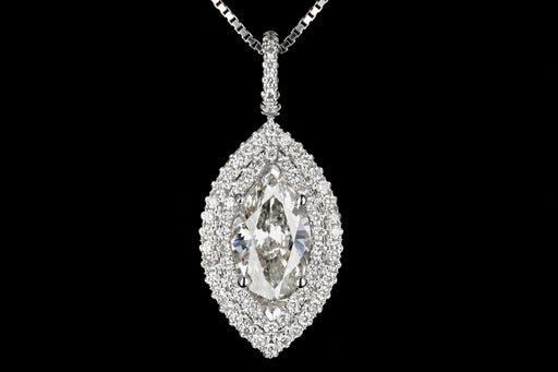 Modern 14K White Gold Marquise Diamond 1.51 Carat Pendant Necklace - Queen May