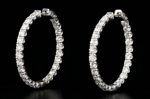 New 14K White Gold 6.96 Carat Diamond Inside Outside Hoops - Queen May