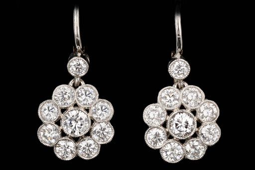 Edwardian Style Platinum and 18K Yellow Gold Diamond Cluster Earrings - Queen May
