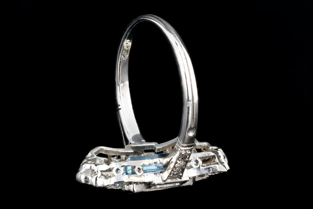 Art Deco Style Platinum 1.5 Carat Aquamarine Ring - Queen May