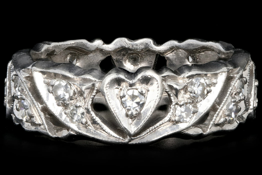 Art Deco Platinum Diamond Heart Motif Eternity Band Size 6 - Queen May