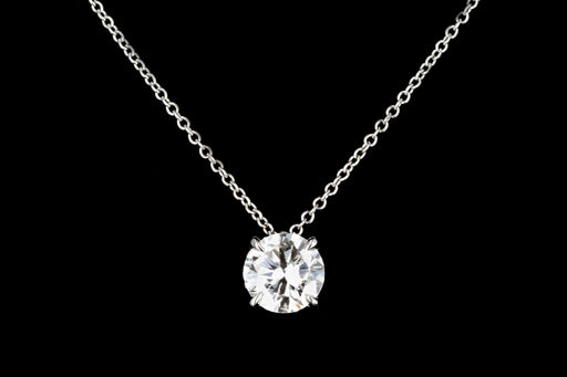 New 18K White Gold 1.19 Carat Round Brilliant Cut Diamond Pendant GIA Certified - Queen May