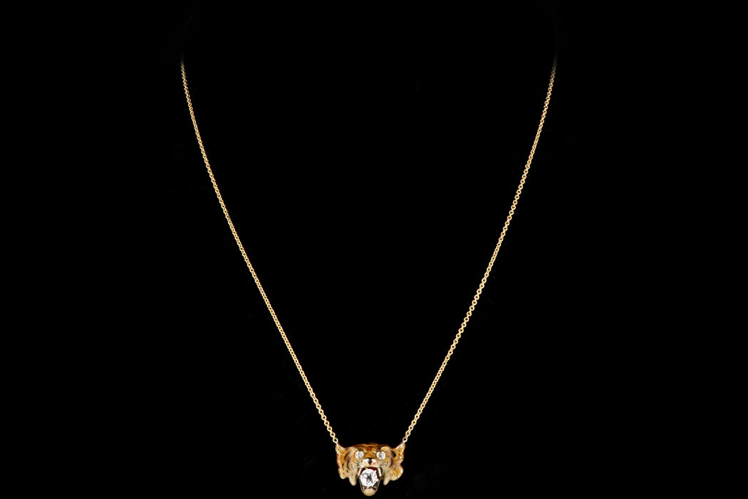 Victorian 14K Yellow Gold Enamel Tiger Diamond Conversion Necklace - Queen May