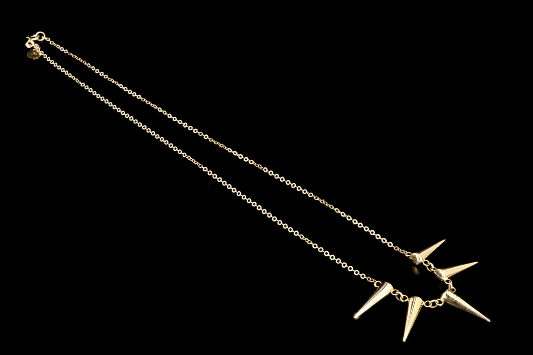 New 14K Yellow Gold Spike Necklace - Queen May