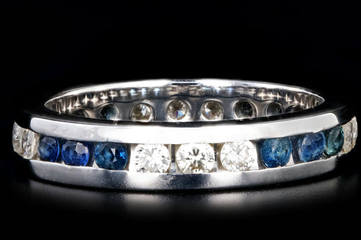 14K White Gold Diamond & Sapphire Eternity Band Ring Size 5.75 - Queen May