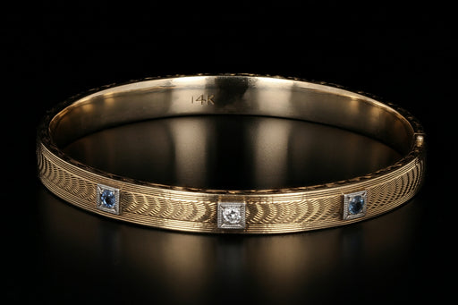 Art Deco 14K Yellow Gold Sapphire & Diamond Bangle Bracelet - Queen May