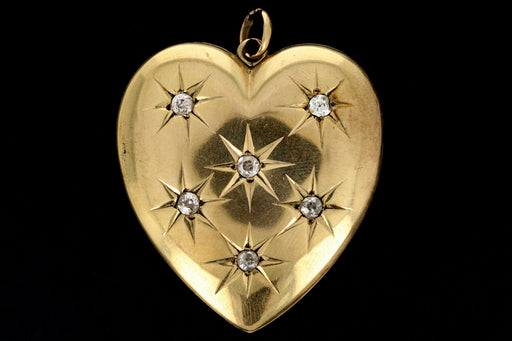 Victorian 10K Yellow Gold Sunburst Diamond Heart Locket - Queen May