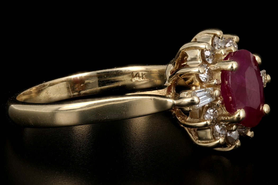 Vintage 14K Yellow Gold 1.30CT Oval Cut Natural Ruby and Diamond Ring - Queen May