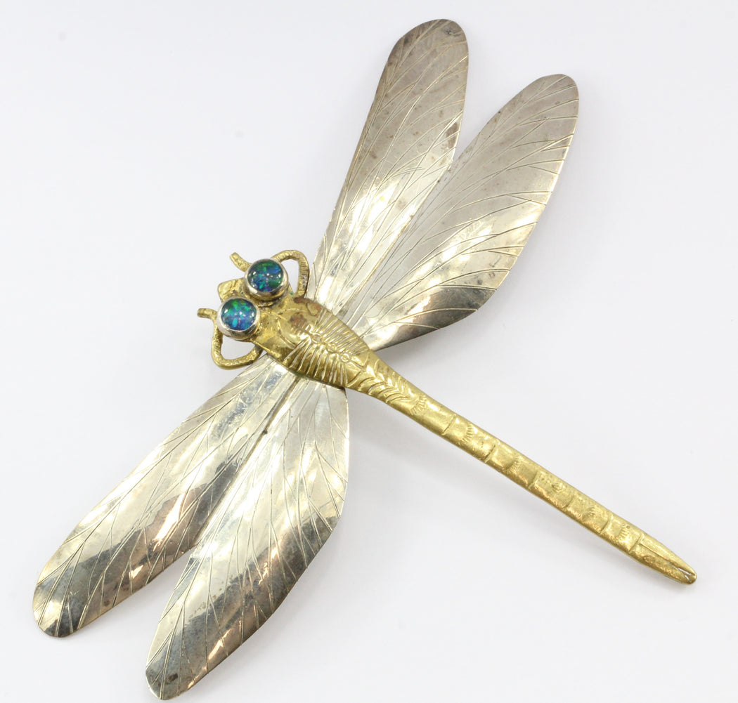 Mixed Metal Sterling Silver & Brass Dragonfly Pendant / Brooch by Courtney - Queen May