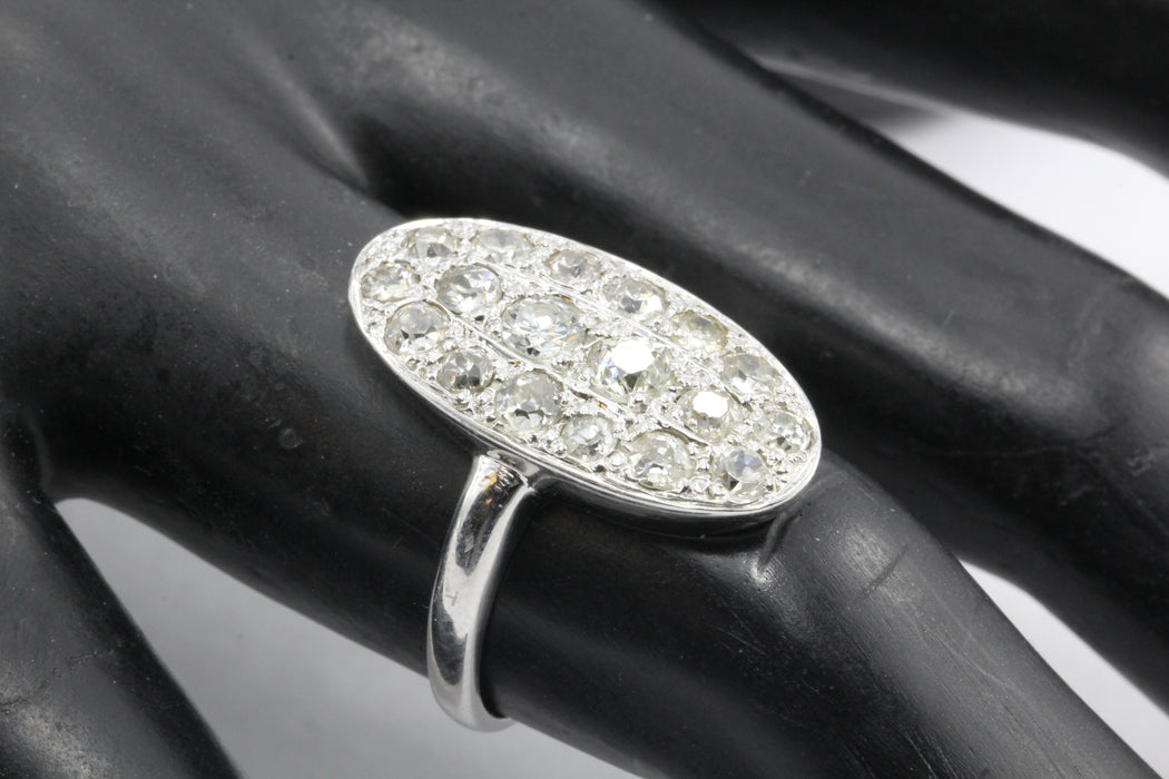 Art Deco 14K White Gold Old European Cut Diamond Oval Cluster Ring - Queen May