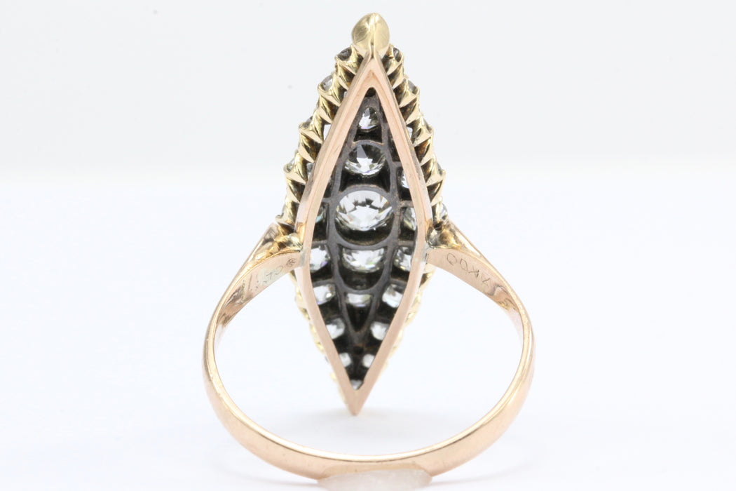 Late Victorian 18K Rose Gold Old European Cut Diamond Navette Ring - Queen May