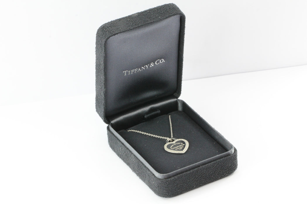Tiffany & Co 18K White Gold Diamond Please Return to Tiffany Heart Tag Necklace - Queen May