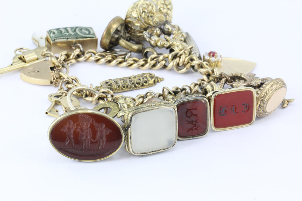 Antique 18K Gold English Tassie Seal heavy Loaded Charm Bracelet - Queen May
