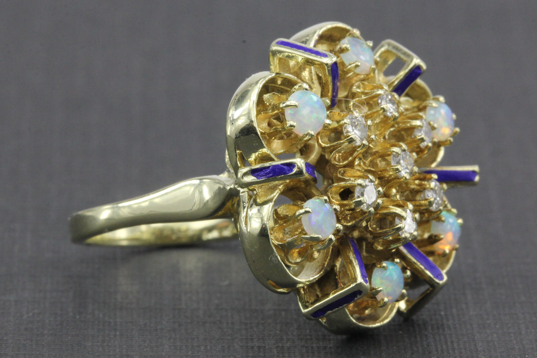Retro 14K Gold Fire Opal, Diamond & Blue Enamel Chunky Ring c.1950's - Queen May