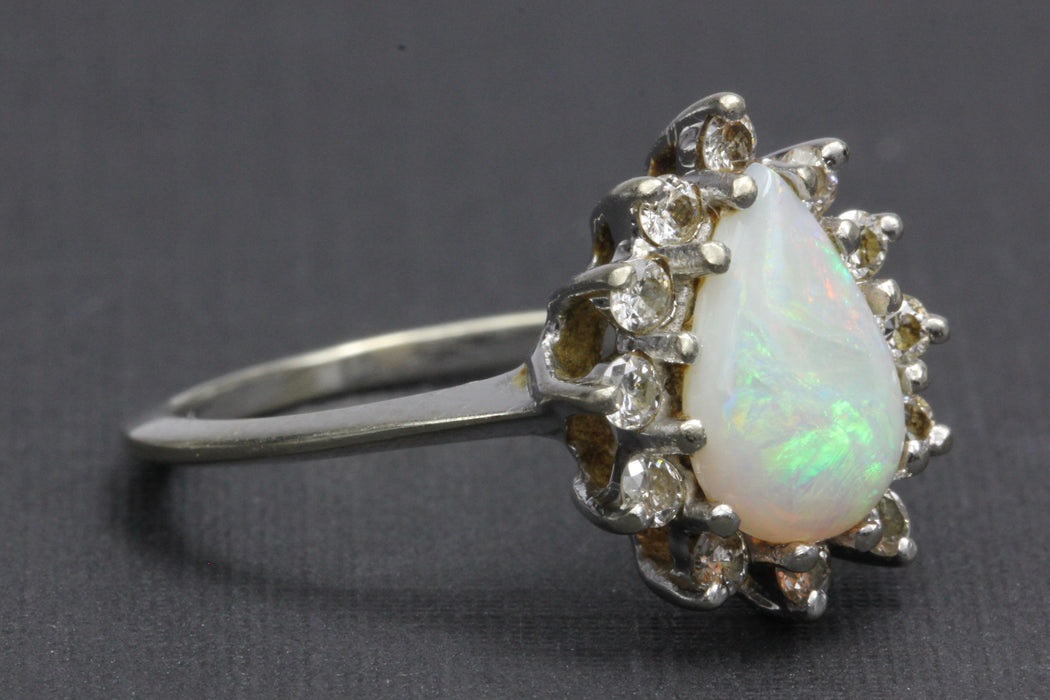 Retro 14K White Gold Opal Diamond Ring by Famor c.1960's - Queen May