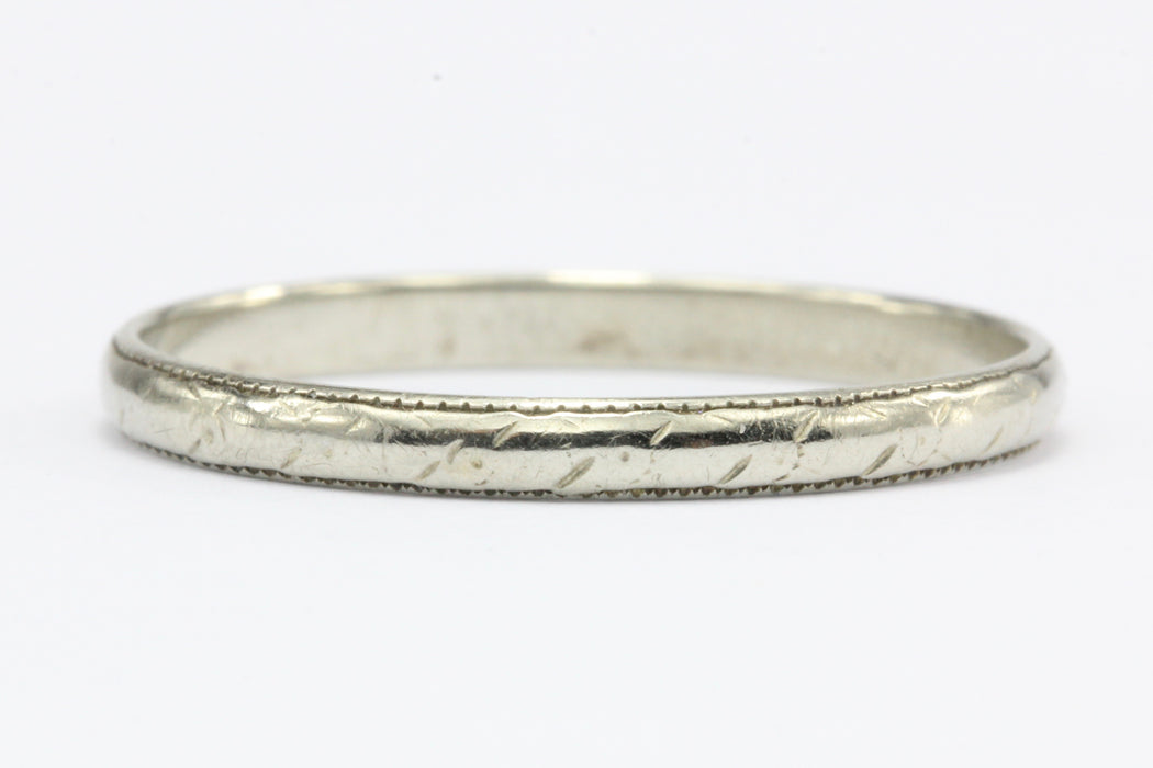 18K White Gold Art Deco Wedding Band Ring c.1920's Size 6.75 - Queen May