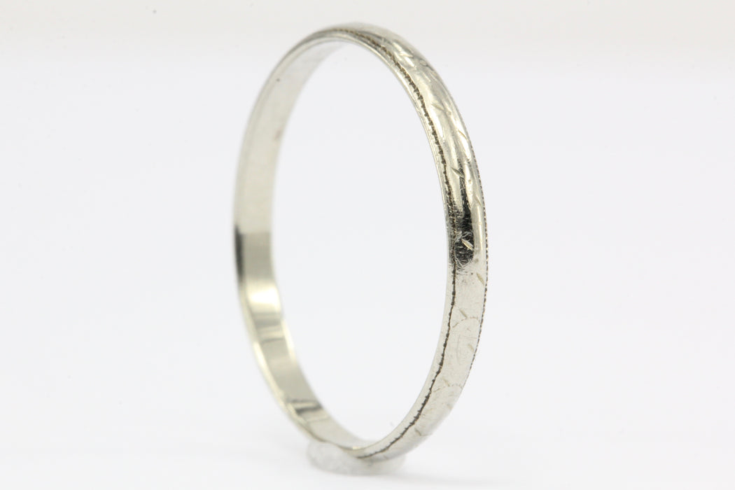 18K White Gold Art Deco Wedding Band Ring c.1920's Size 6.75