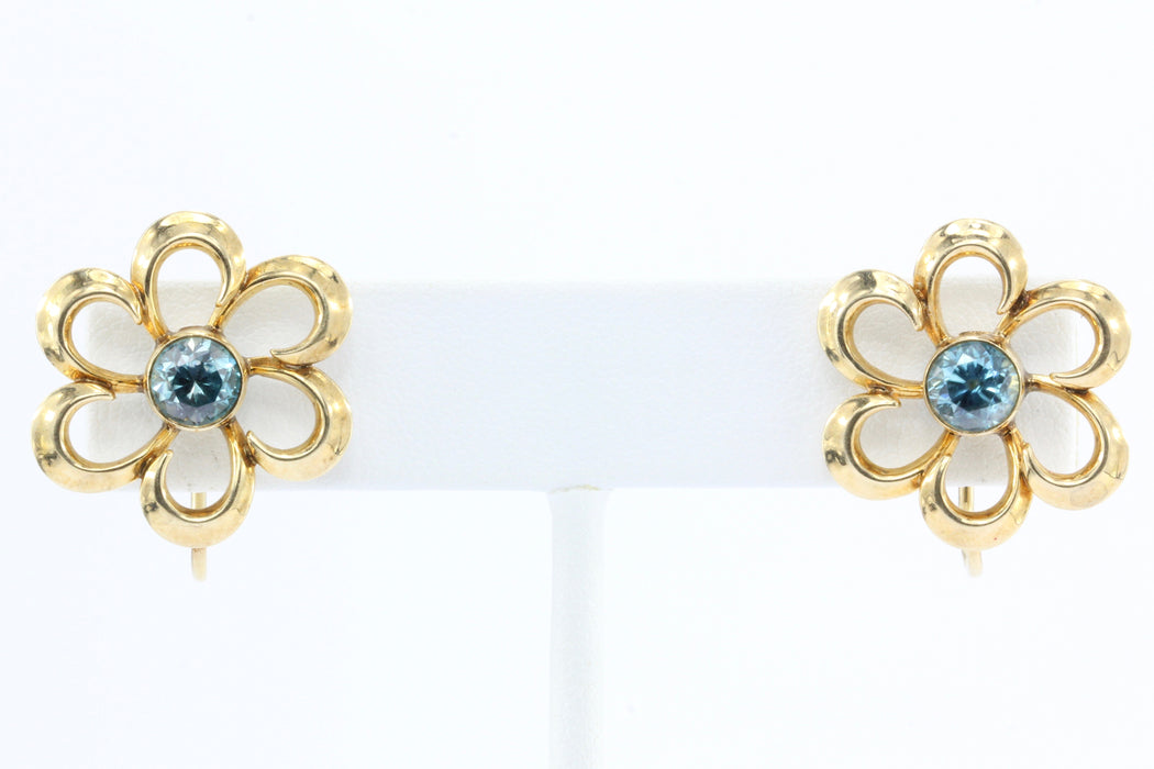 Art Deco 14K Gold Blue Zircon L. Fritschze & Co Flower Earrings c.1940's - Queen May