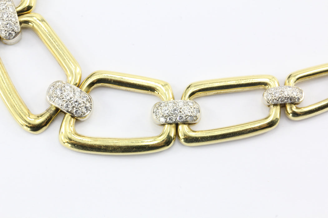 Vintage 18k Gold Graduated Chain Link Pave set Diamond Necklace - Queen May