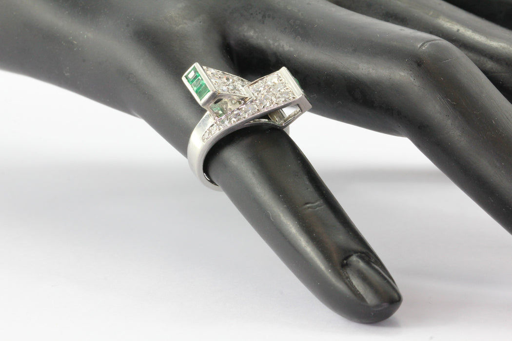 Platinum Paul Lackritz and Co. Art Deco Diamond and Emerald Ring 1930's - Queen May