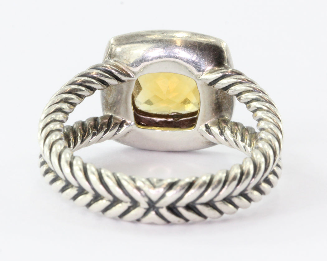David Yurman Sterling Citrine Diamond Petite Albion Ring - Queen May
