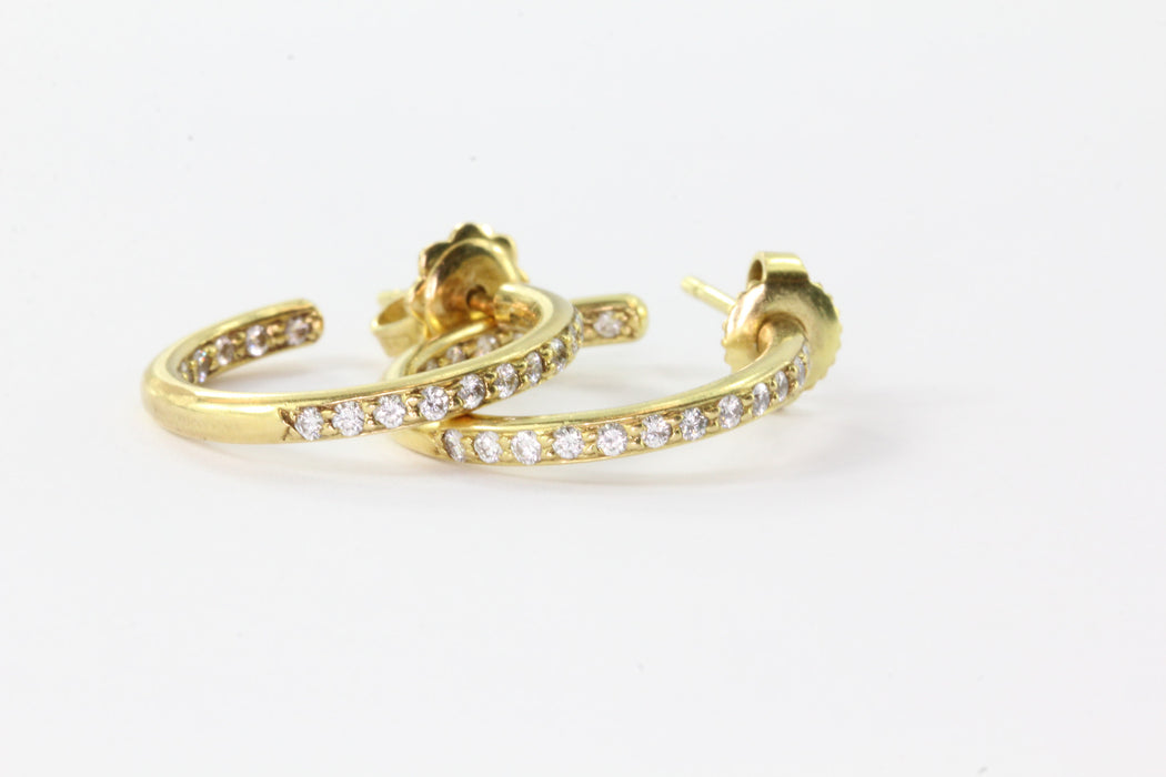 18K Yellow Gold 1 CTW Diamond Eternity Hoop Earrings by Honora - Queen May