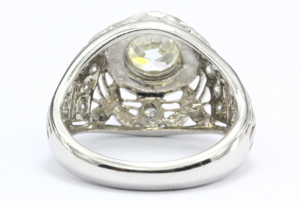 Platinum Old European Cut Diamond Art Deco Style Ring Size 7 - Queen May