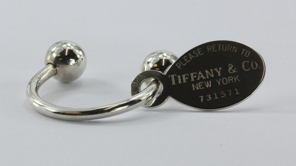 Please Return to Tiffany & Co New York Tag Sterling Silver 925 Key Chain Ring