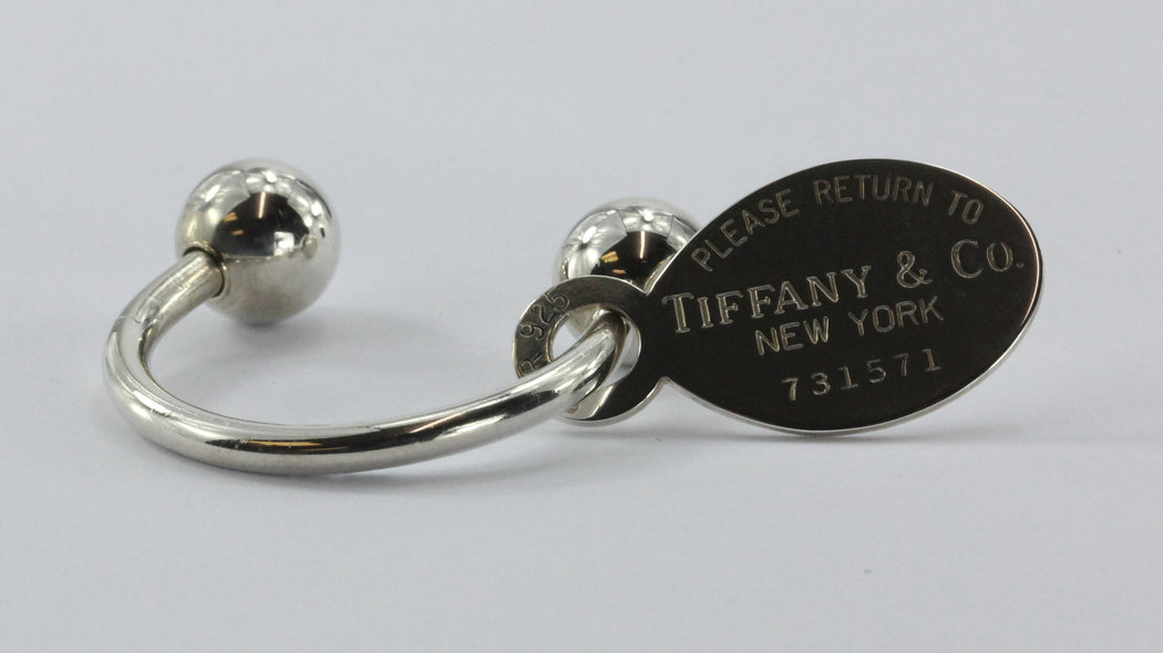 Please Return to Tiffany & Co New York Tag Sterling Silver 925 Key Chain Ring - Queen May