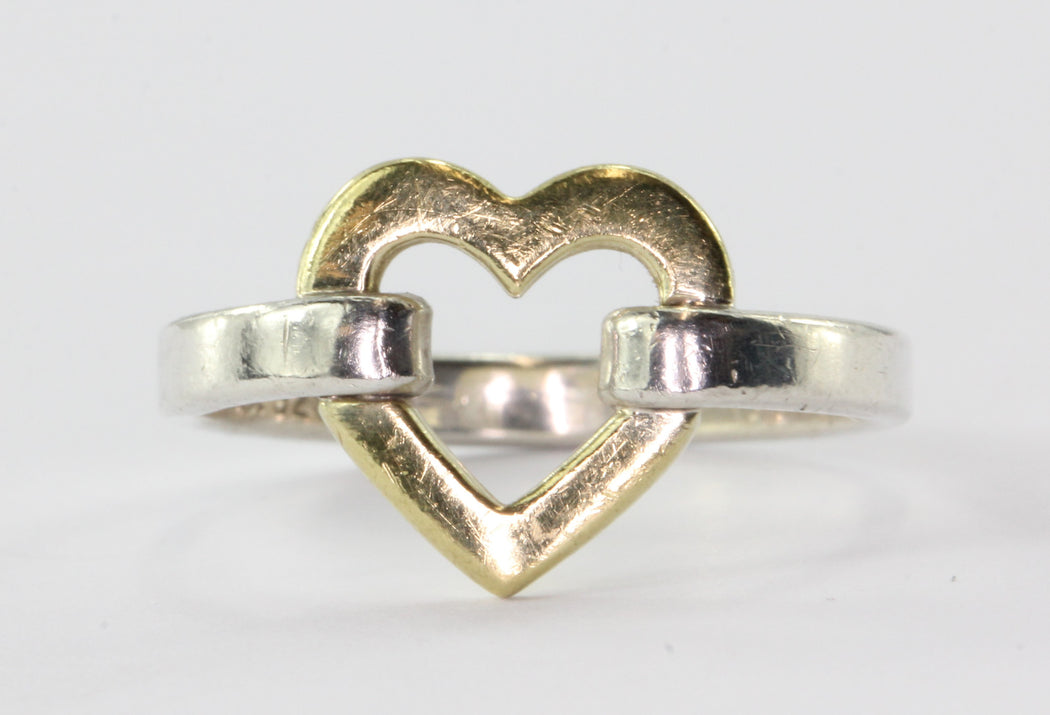 Tiffany & Co Sterling Silver & 18K Yellow Gold Open Heart Ring