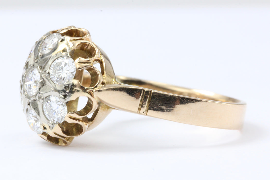 Armenian 14K Rose Gold Diamond Starburst Dome Ring c.1989 - Queen May