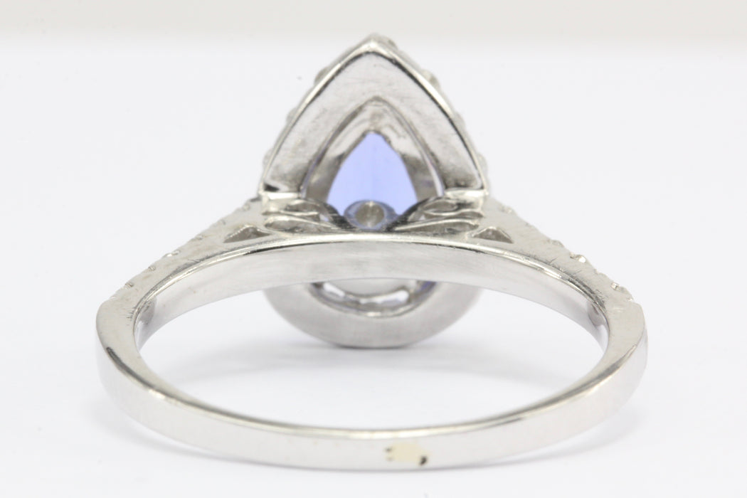 14k White Gold Tanzanite Diamond Halo Engagement Ring - Queen May