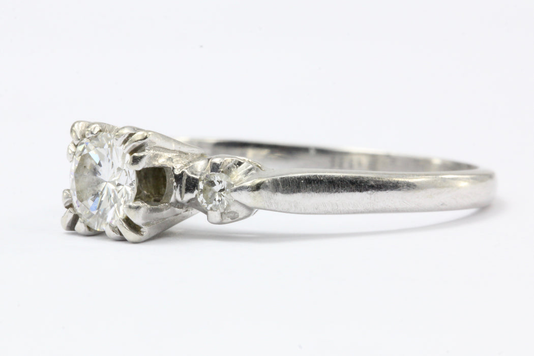 Retro 14K White Gold 3 Stone Diamond Engagement Ring c. 1940's - Queen May