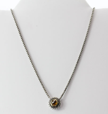 David Yurman Sterling Silver & 18K Gold Citrine Cookie Necklace