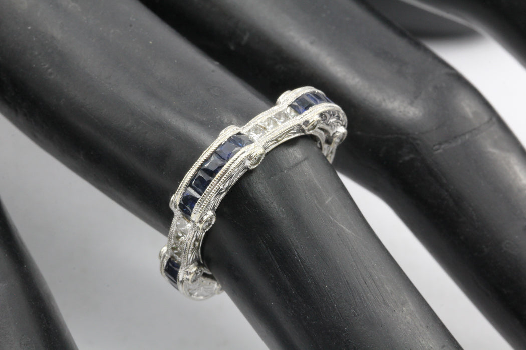 Art Deco Style 18K White Gold Diamond Sapphire Eternity Band Ring size 6 - Queen May