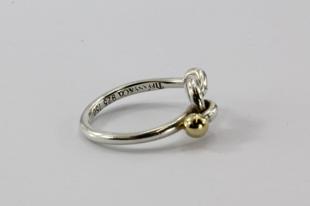 Tiffany Co Sterling Silver 18k Gold Knot Ring Size 5 5 Queen May