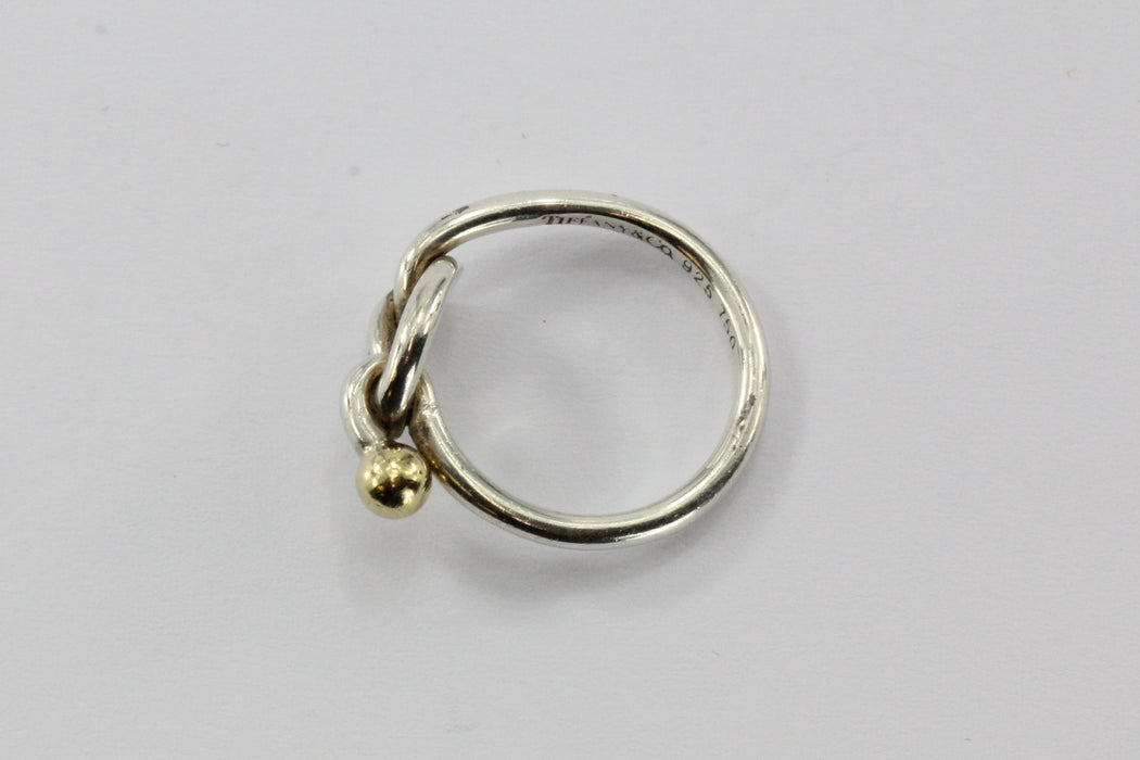 Tiffany & Co Sterling Silver & 18K Gold Knot Ring Size 5.5 - Queen May