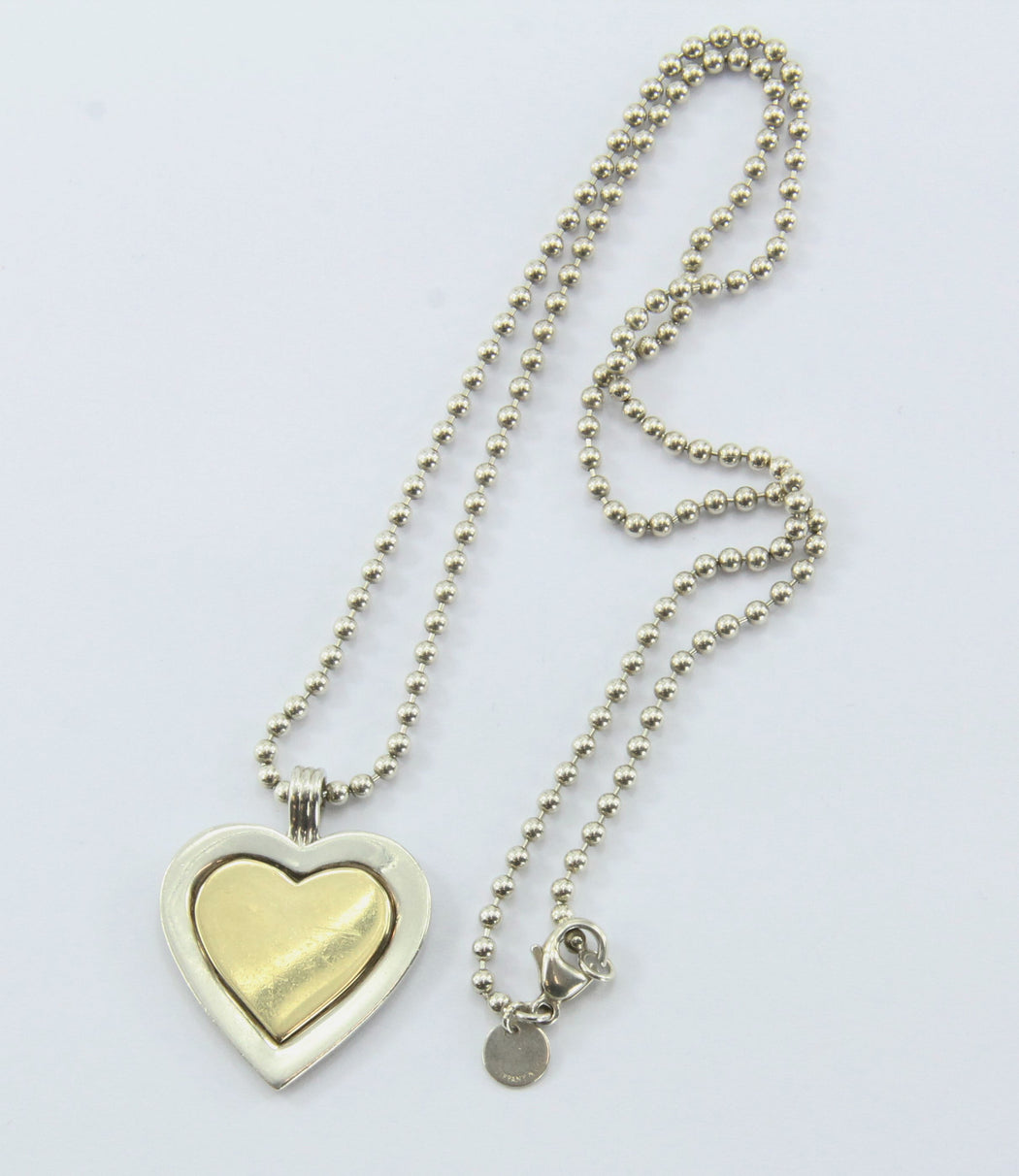 Vintage Tiffany & Co Sterling Silver & 18K Gold Heart Pendant & Necklace - Queen May