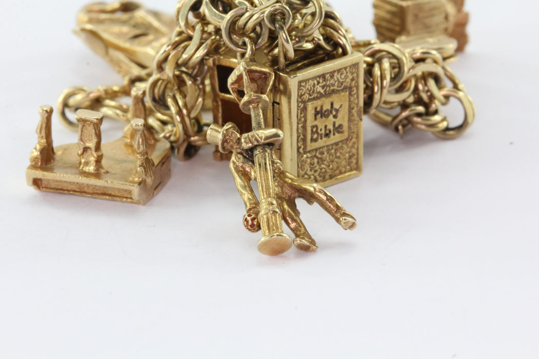 14K Gold 12 Moveable Charms Charm Bracelet Circa 1950's