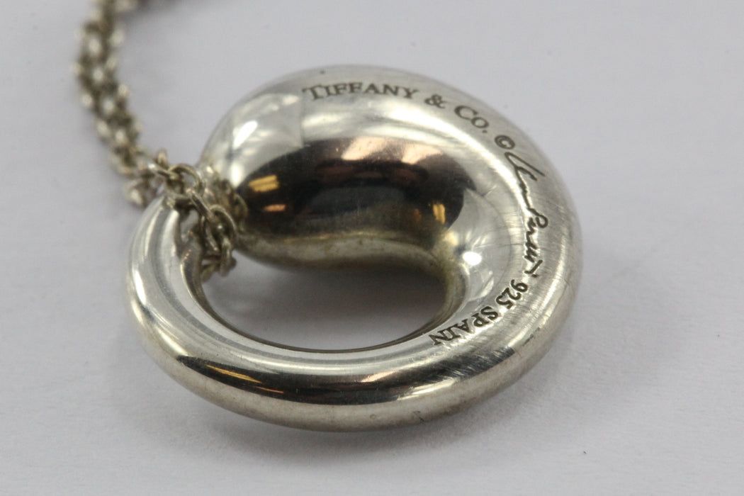 Tiffany & Co Sterling Silver Elsa Peretti Small Eternal Circle Pendant & Chain - Queen May