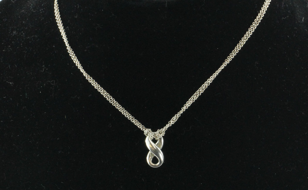 Tiffany & Co 925 Sterling Silver Double Chain Infinity Necklace - Queen May