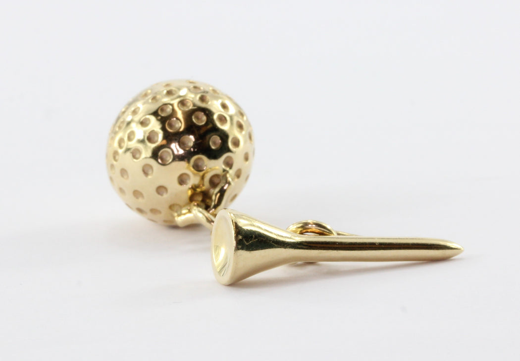 Retro 14K Gold Golf Ball & Tee Cufflinks