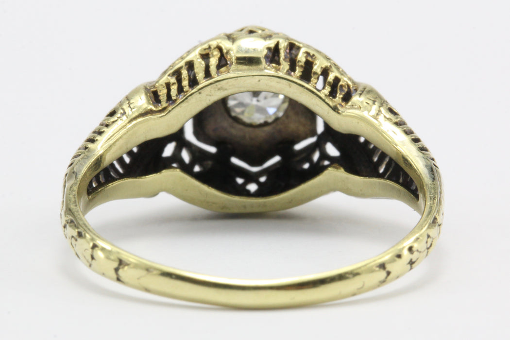 Art Deco 14K Gold Old European Cut Diamond Engagement Ring c.1920's - Queen May