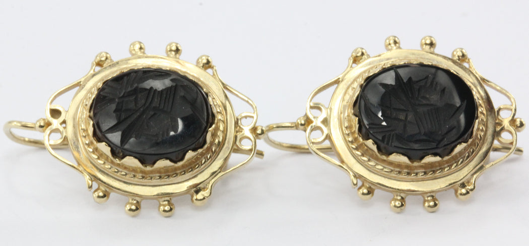 059066cfa Vintage Victorian Style 14K Gold Black Onyx Intaglio Roman Cameo Earrings -  Queen May ...
