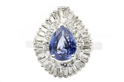 Natural Blue Pear Shaped Sapphire with Diamond Halo 14K White Gold Ring - Queen May