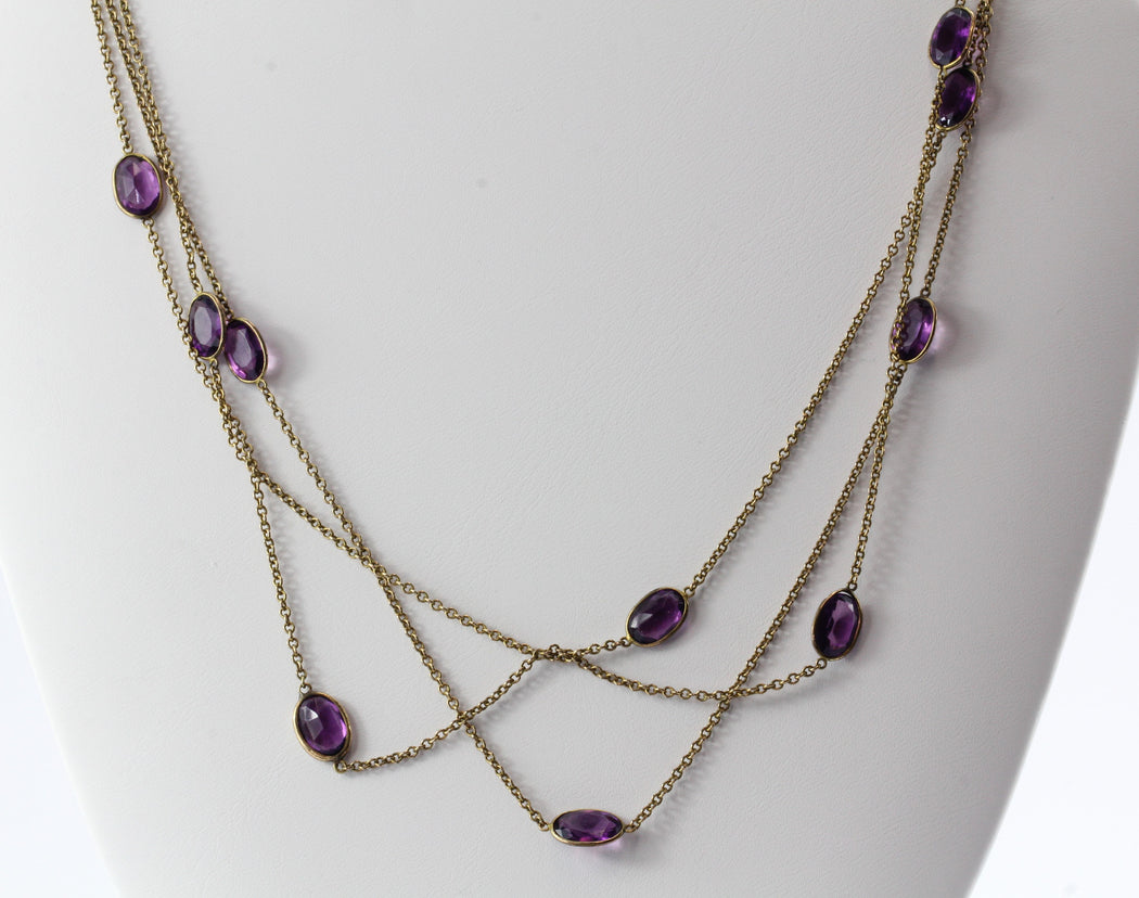 "Victorian Amethyst Glass Pinchbeck Necklace or Bracelet 61"" Long - Queen May"
