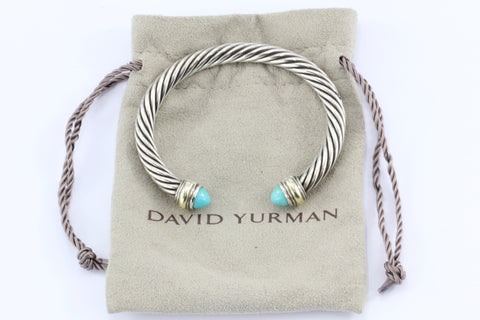 David Yurman Sterling Silver 14K Gold Turquoise 7mm Cable Cuff Bracelet