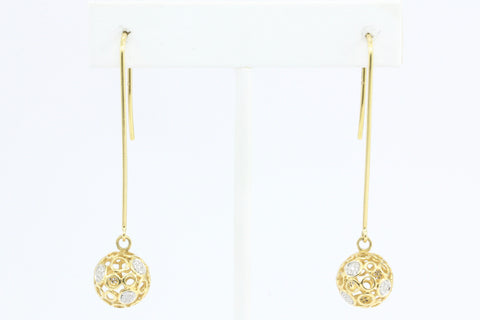 Joyeria Ramon 18k Gold Diamond Sphere Collection Earrings